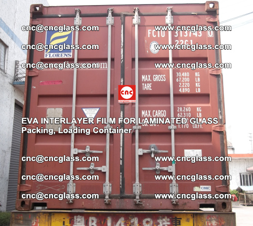 EVA interlayer film for laminated glass, packing, loading container (1)