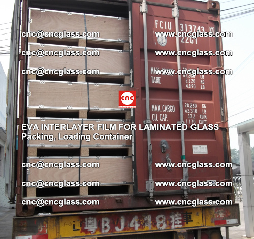 EVA interlayer film for laminated glass, packing, loading container (8)