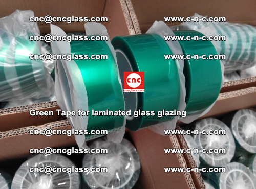 High Temperature PET Silicone Green Tape for Safety glass laminating (18)