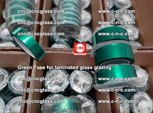 High Temperature PET Silicone Green Tape for Safety glass laminating (33)