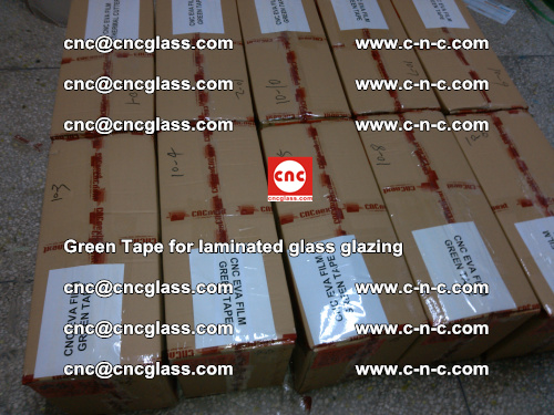 High Temperature PET Silicone Green Tape for Safety glass laminating (50)