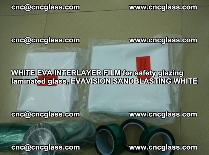 WHITE EVA INTERLAYER FILM for safety glazing laminated glass, EVAVISION SANDBLASTING WHITE (45)