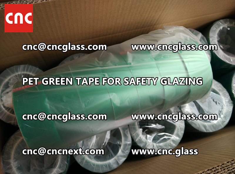 SAFETY GLAZING GREEN TAPE high temp resistance PET backing (1)