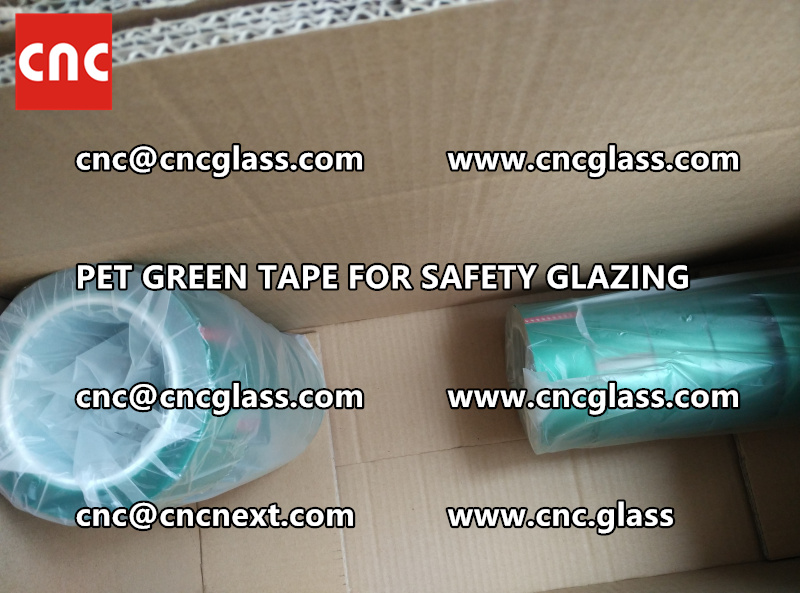 SAFETY GLAZING GREEN TAPE high temp resistance PET backing (2)