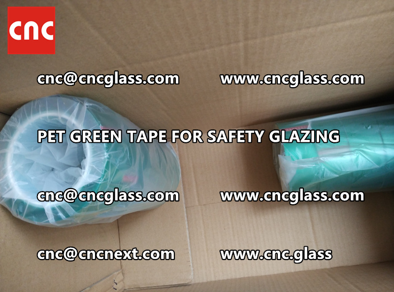 SAFETY GLAZING GREEN TAPE high temp resistance PET backing (3)