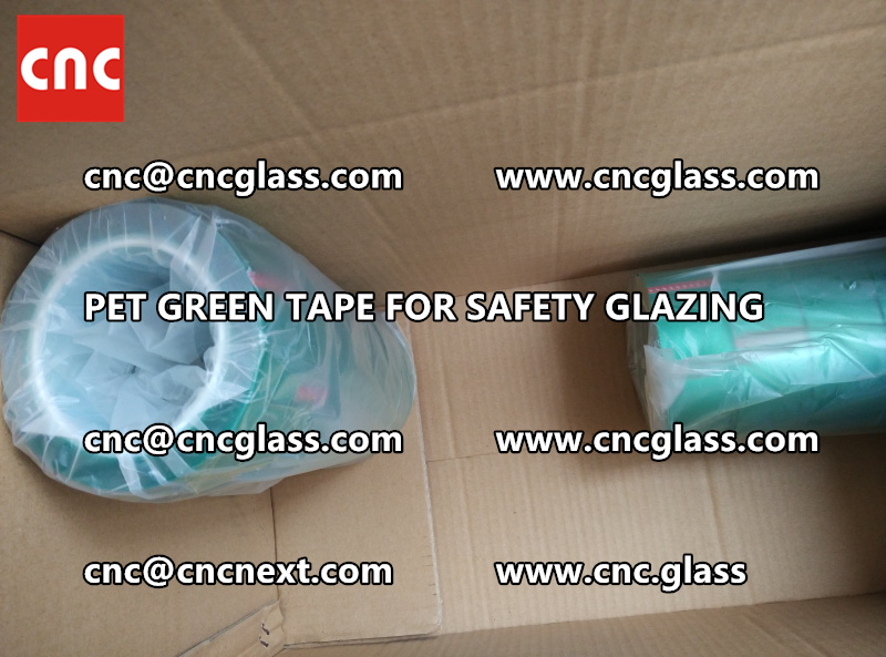 SAFETY GLAZING GREEN TAPE high temp resistance PET backing (4)