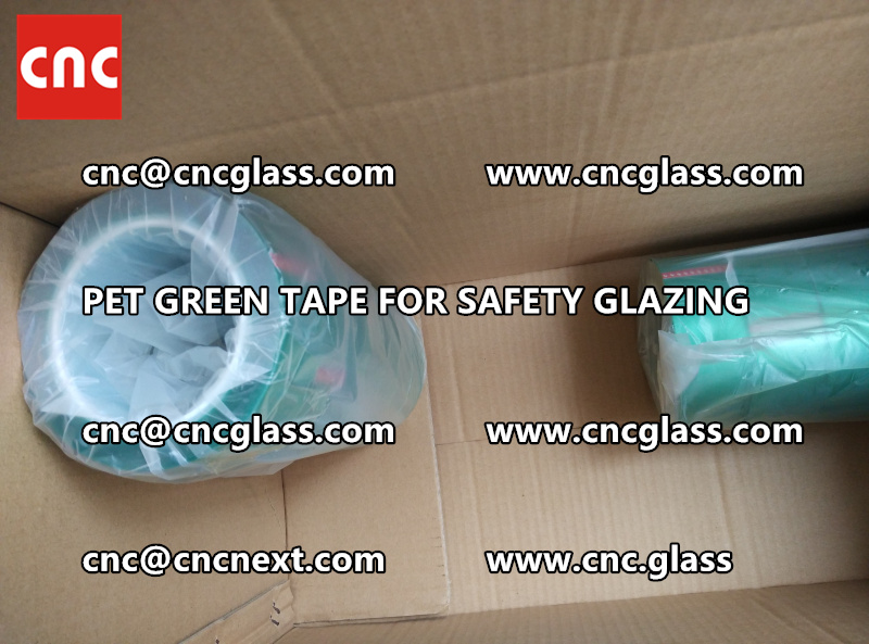 SAFETY GLAZING GREEN TAPE high temp resistance PET backing (5)