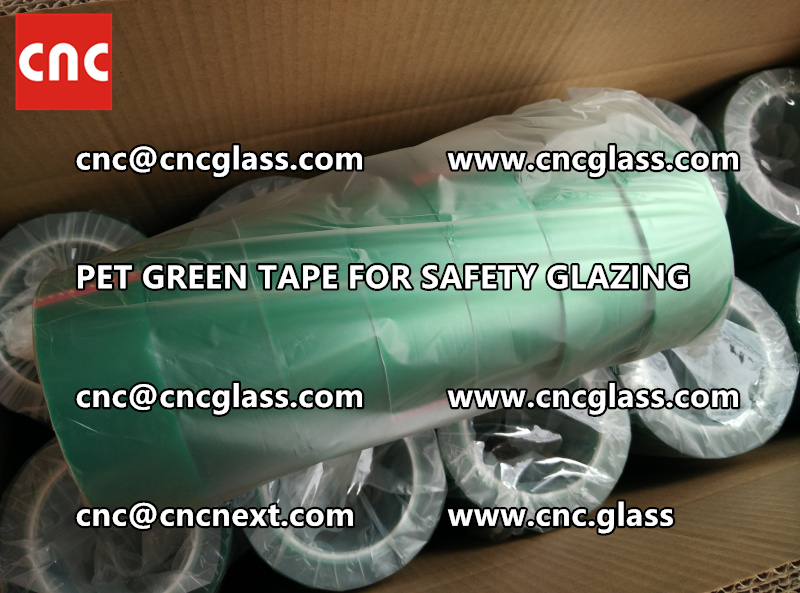 SAFETY GLAZING GREEN TAPE high temp resistance PET backing (6)